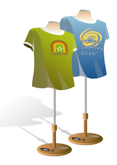 Image mannequins with t-shirts