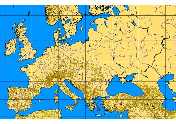 Image map of Europe with geographic features