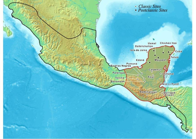 Image map of Mayan civilization