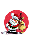 Coloring pages Santa Claus and reindeer