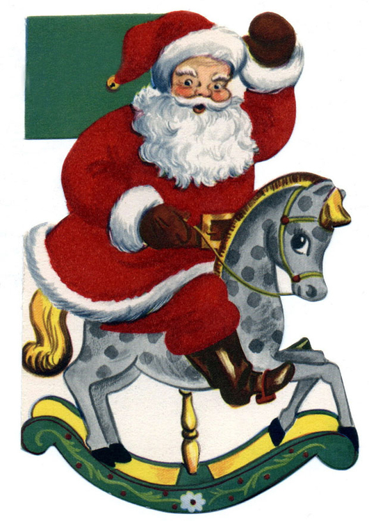 Image Santa Claus on rocking horse