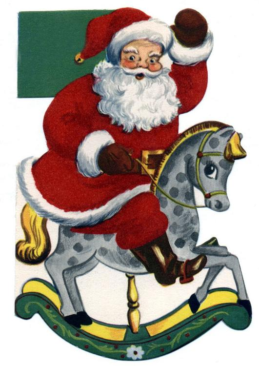 Santa Claus on rocking horse