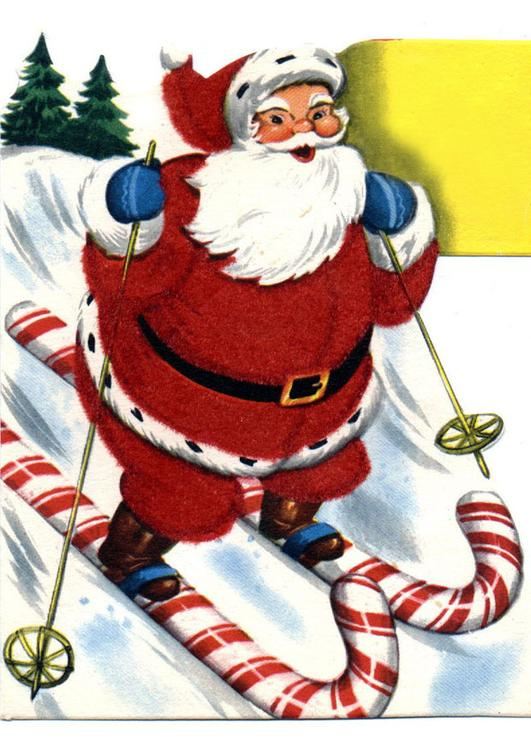 Santa Claus on skis