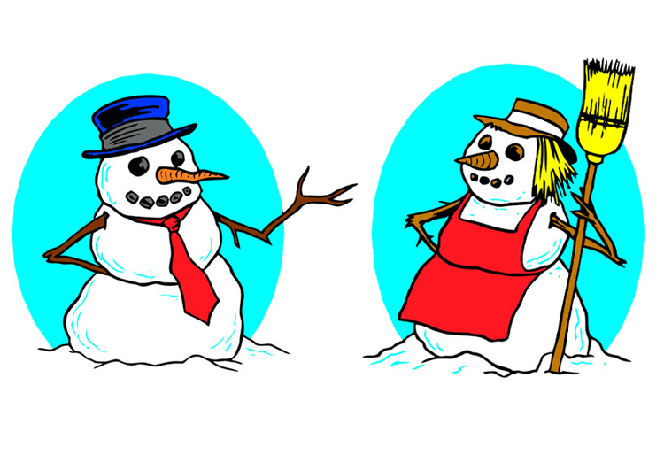 Image snowman and snow-woman