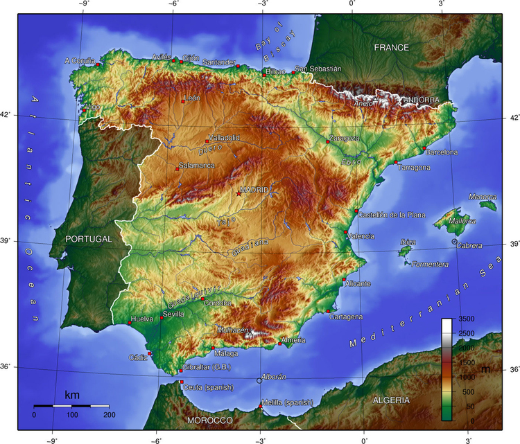 Image Spain surface shape
