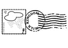 Coloring page stamped postage stamp
