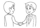 Coloring page to shake hands