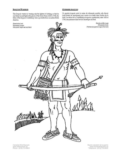 Coloring page iroquois warrior