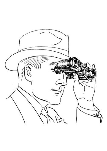 Coloring page man with binoculars