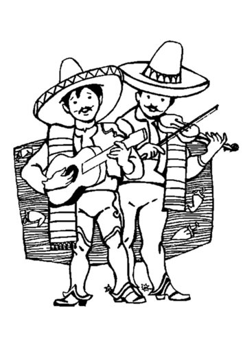 Coloring page Mexican musicians