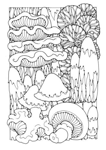 Раскраски страницу грибами