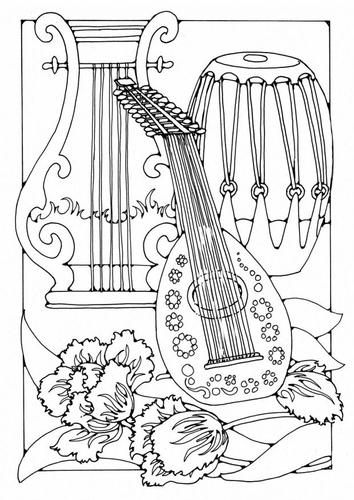Раскраски музыкальные инструменты