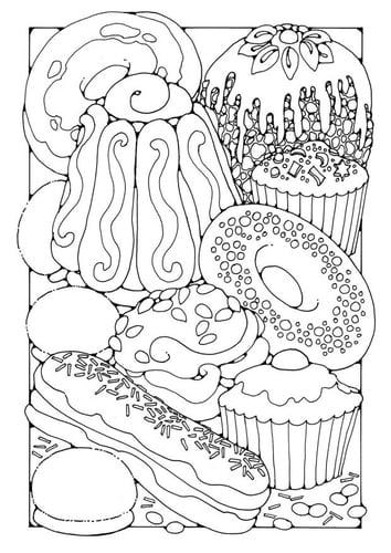 Раскраски страницу кондитерских изделий