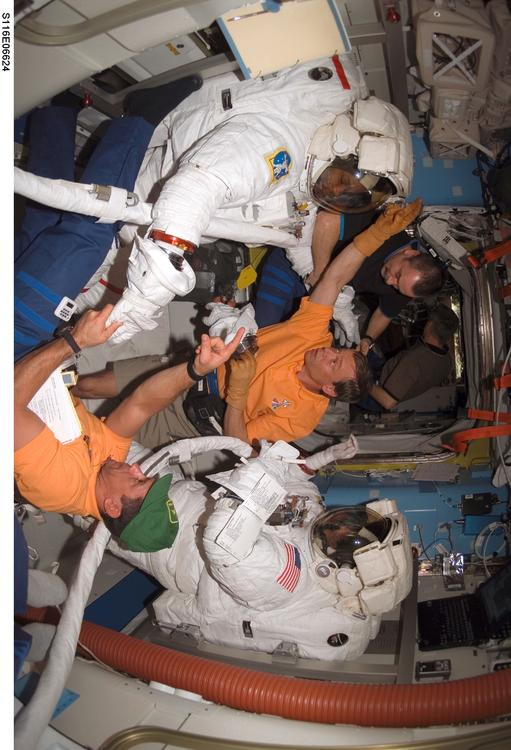 astronauts in space station