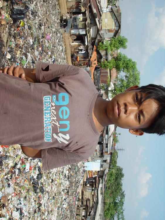 boy in slum area