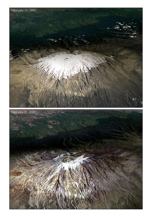 Photo changes in snow accumulations on Mount Kilimanjaro.