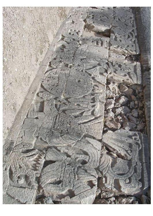 Chichen Itza- carving on stadium wall