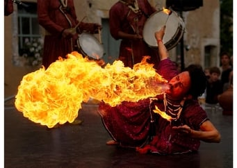"Photo Fire-eater from the ""Jaipur Maharaja Brass Band"""