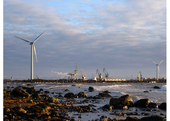 Photo harbour with windmills