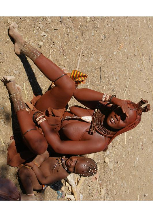 Himba mother with child