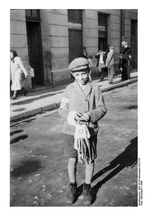 Jewish boy with armband in Radom, Poland