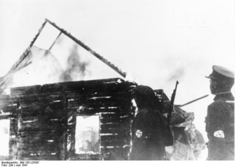 Photo Litouwen - synagogue on fire