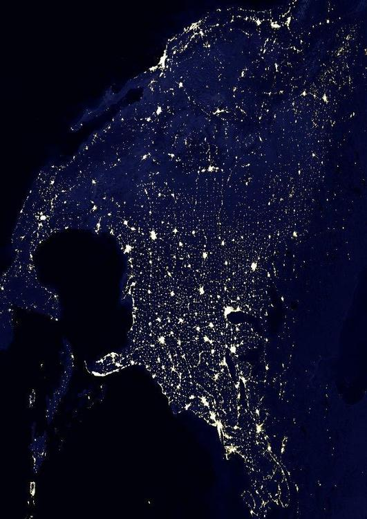 night image urbanized Earth, North America