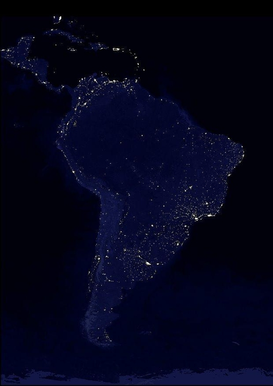 Photo night image urbanized Earth, South America