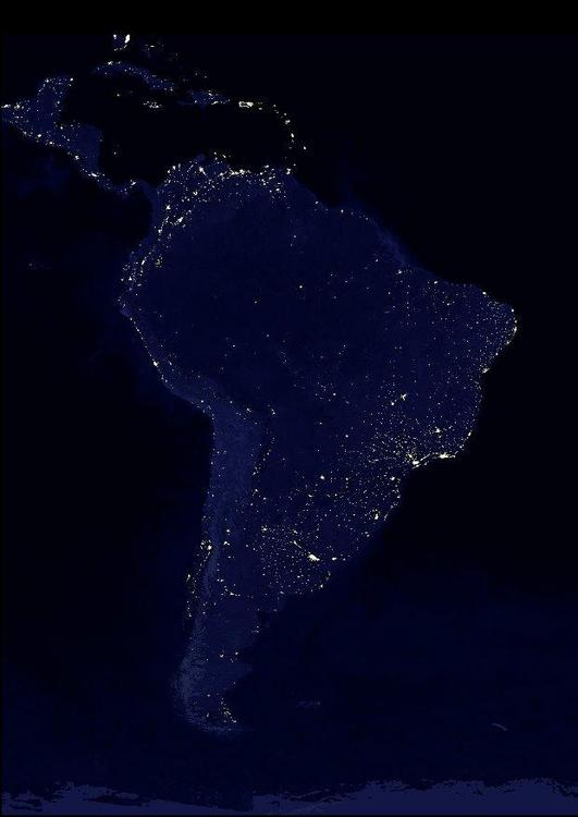 night image urbanized Earth, South America