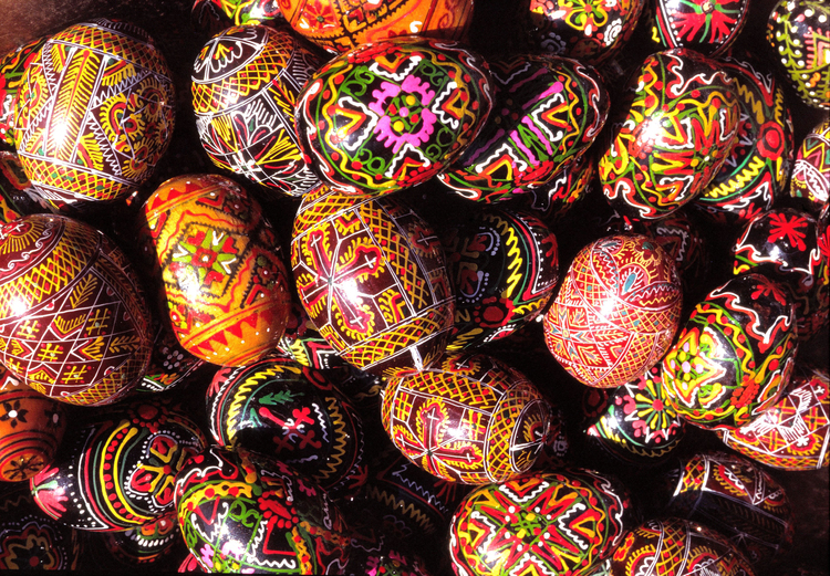 Photo painted Easter eggs