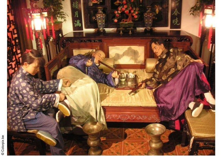 Photo reinactment of opium bar