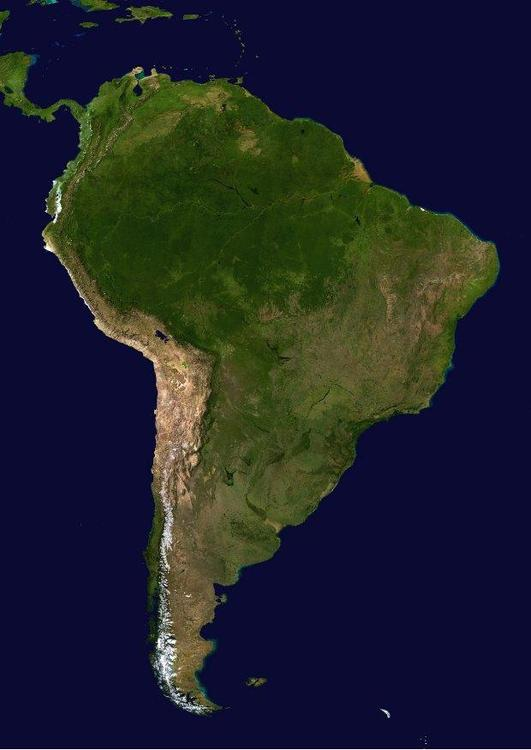 satelite image South America