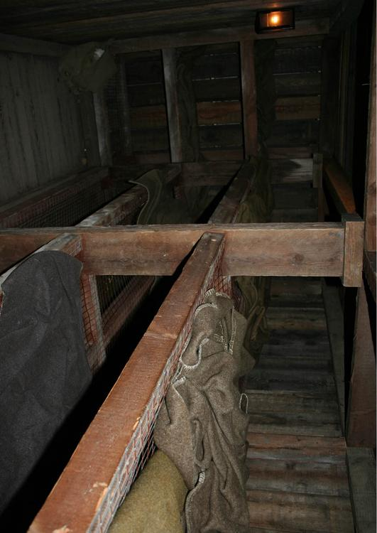 sleep quarters in underground barracks