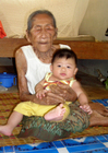 Photos young and old, old woman with baby