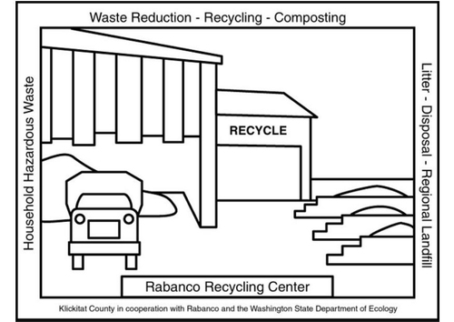 Coloring page recycling center