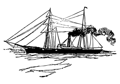 Coloring page steam ship - img 10512.