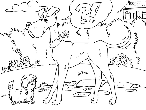 Coloring page tall dog and small dog