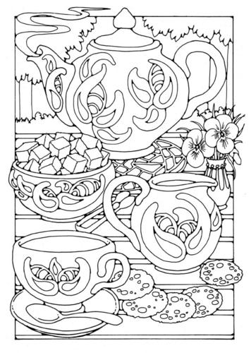 Раскраски страницу чаепития
