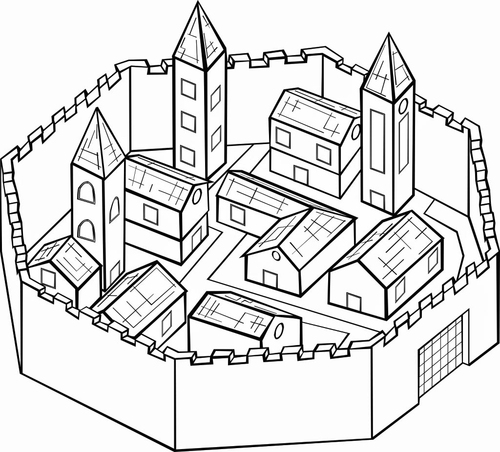 Walled city in medieval Europe